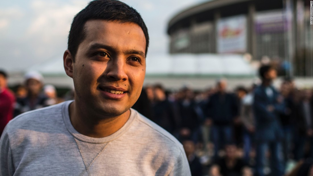 "Rustam Shakhov, 24, is from Dagestan. He says: ""It is a day when everybody visits each other, does good, [and] smiles to each other."""