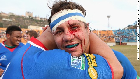 ANTANANARIVO, MADAGASCAR - JULY 06:  Tinus du Plessis (R) of Namibia celebrates after their victory during the Rugby World Cup 2015 qualifying match between Madagascar and Namibia at the Mahamasina Stadium on July 6, 2014 in Antananarivo, Madagascar.  (Photo by David Rogers/Getty Images)