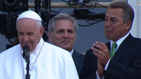 John Boehner cries during Pope's speech