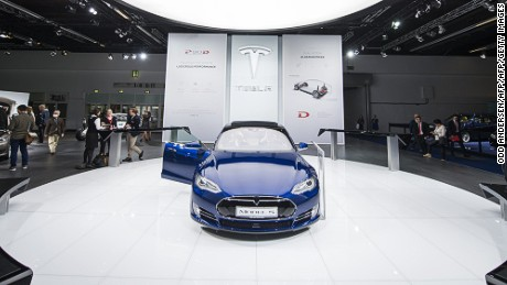 The Model S of US electric cars manufacturer Tesla Motors is seen during a press day of the 66th IAA auto show in Frankfurt am Main, western Germany, on September 16, 2015.  AFP PHOTO / ODD ANDERSEN        (Photo credit should read ODD ANDERSEN/AFP/Getty Images)