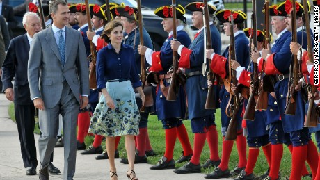 Queen Letizia and King Felipe VI of Spain visit Castillo San Marcos during the 450th Saint Augustine anniversary on September 18, 2015 in Florida.