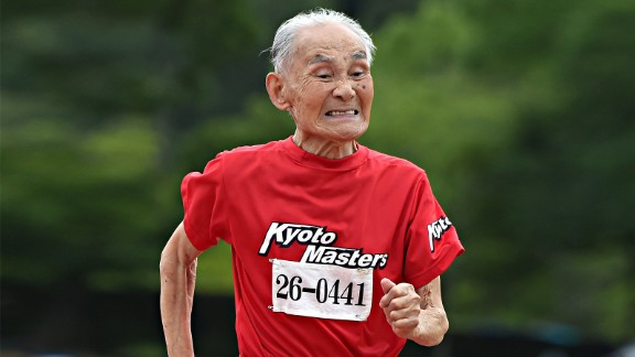 Hidekichi Miyazaki runs the 100-meter dash in Kyoto on August 3, 2014.