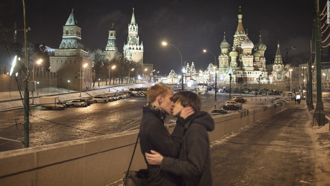 "Moscow, Russia October  2013. Harry Ben'Ka staging a kiss-in with his partner.<br /><br />In 25 years, Russian photojournalist Yuri Kozyrev has documented the collapse of the Soviet Union, the Arab Spring and the war in Afghanistan.<br /><br />Kozyrev: ""The spot where I took photos of Harry and his partner staging a kiss-in is the most recognizable place in Moscow. This is also the site where Boris Y. Nemtsov, a prominent Russian opposition leader and former first deputy Prime Minister, was shot dead on the 25th of February this year."""