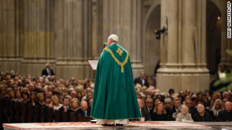 Pope Francis speaks during vespers Thursday night.
