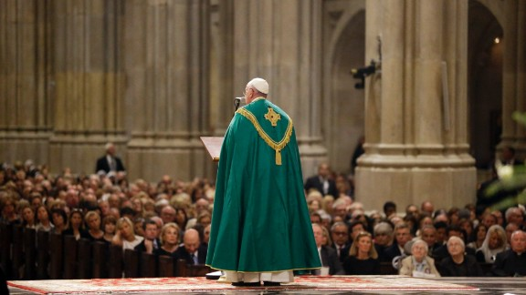 Pope Francis speaks during evening prayer service at St. Patrick's Cathedral in New York, Thursday, Sept. 24, 2015. (AP Photo/Mary Altaffer, Pool)