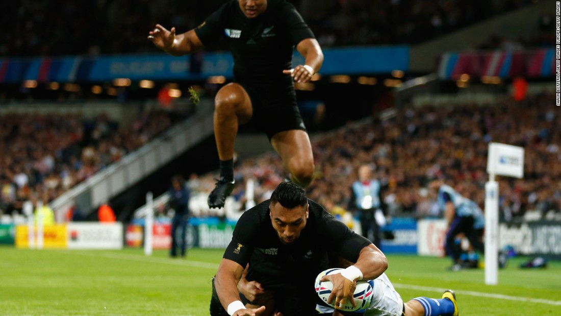 The tournament's lowest-ranked team did well to restrict the world champion New Zealand side to nine tries, the first of which was scored in the sixth minute by No. 8 Victor Vito.