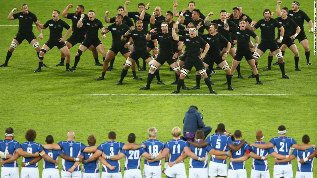 The All Blacks performed their customary Haka war dance before the match in London.