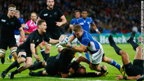 LONDON, ENGLAND - SEPTEMBER 24:  Johan Deysel of Namibia goes over to score his teams opening try during the 2015 Rugby World Cup Pool C match between New Zealand and Namibia at the Olympic Stadium on September 24, 2015 in London, United Kingdom.  (Photo by Phil Walter/Getty Images)