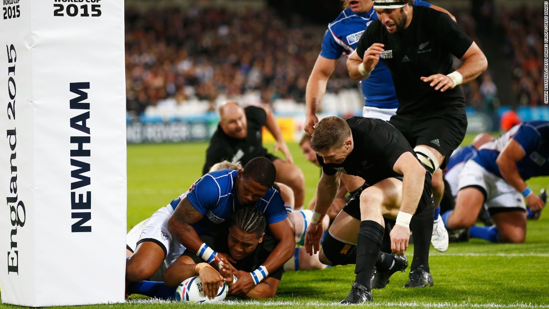 Julian Savea, playing on the left wing, also scored two tries for New Zealand -- both in the second half.
