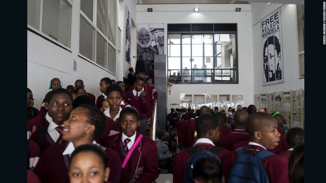 School Group Visits Robben Island, 2014. Robben Island houses the prison where former President and Nobel Peace Prize Winner Nelson Mandela was imprisoned for 18 of his 27 years of incarceration. South Africa's current President Jacob Zuma was also imprisoned there.