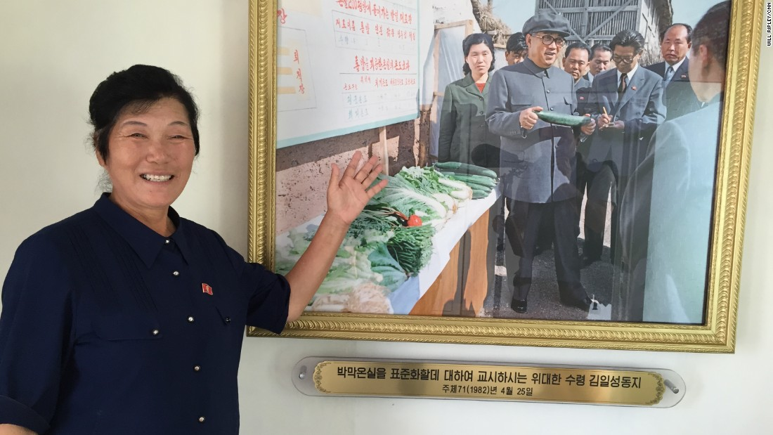 Kim Myong Jon has earned a prominent position in North Korea's agricultural community. She is something of a national celebrity. Pictures in the farm museum show many of her 44 meetings over the years -- with all three North Korean leaders.