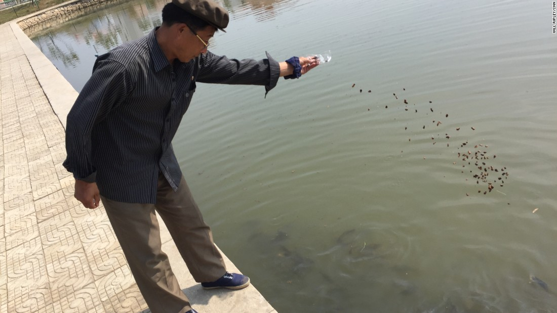 A man feeds a fishing pond stocked with thousands of fish -- one of many newly built amenities for farming families at the Jang Chon cooperative farm. Jang Chon is leaps and bounds ahead of the majority of North Korean farms.