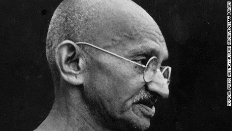 circa 1948:  Indian leader Mahatma Gandhi (Mohandas Karamchand Gandhi, 1869 - 1948).  (Photo by Topical Press Agency/Getty Images)