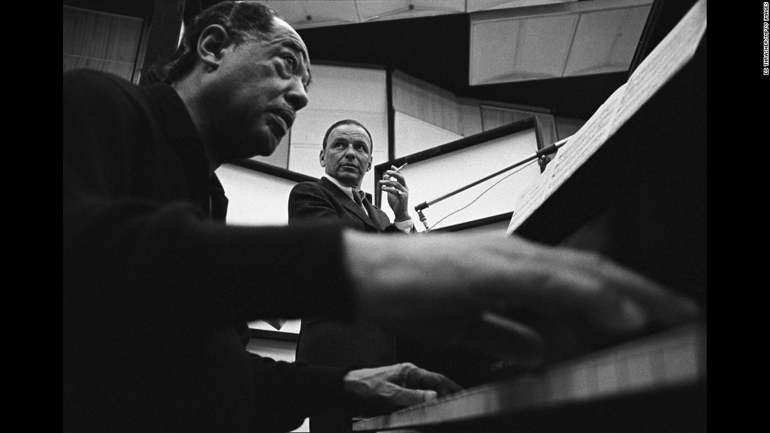 "Sinatra recorded with many of the greats: Tommy Dorsey, Bing Crosby, Count Basie, Antonio Carlos Jobim. On his birthday in 1967, he finally got to record with Duke Ellington, left, in sessions that would become the album ""Francis A. and Edward K."" As Stan Cornyn wrote in the liner notes for the album: ""The singer today is one year older. His singing, one more year profound."""