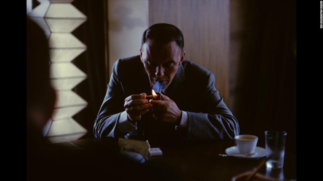 "For all his standing in public life, Sinatra liked solitude, and many images show him pensive and thoughtful. This shot was taken in Tokyo in 1962. Sinatra said of his pipe-smoking, ""It helps me think straight."" He died on May 14, 1998. He was 82."
