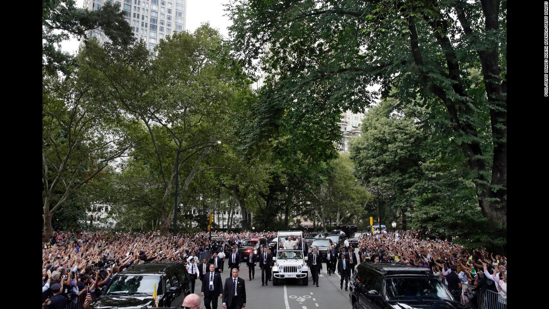 Pope Francis rides through New York's Central Park on September 25. Francis addressed the U.N. General Assembly and will head to Philadelphia this weekend for the World Meeting of Families, a large Catholic event expected to draw nearly 1 million pilgrims.