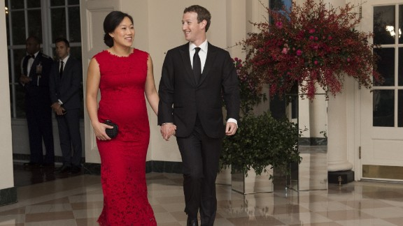Facebook boss Mark Zuckerberg and his wife, Priscilla Chan, arrive for a State Dinner for Chinese President Xi Jinping on September 25.