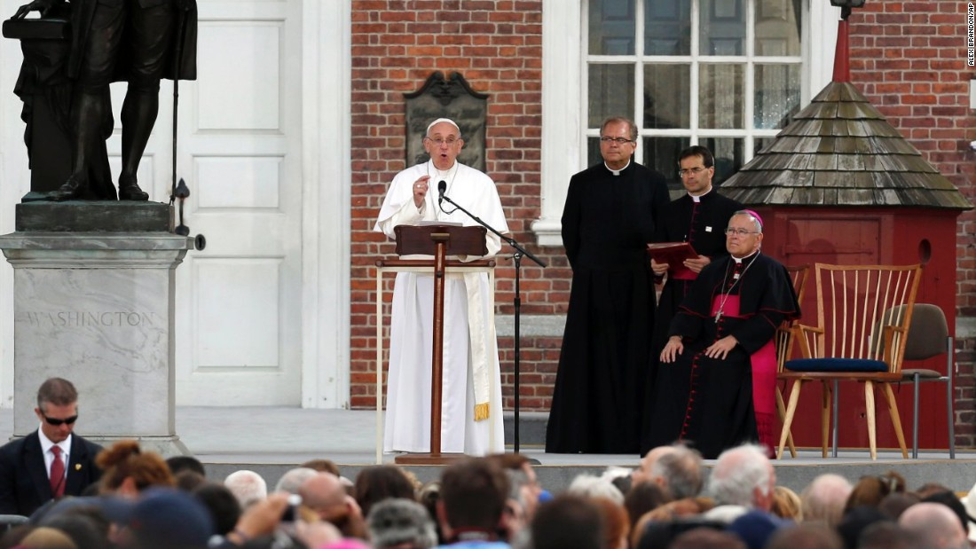 Pope Francis speaks in front of Independence Hall, from the lectern used by President Abraham Lincoln during the Gettysburg Address, on Saturday, September 26, in Philadelphia.