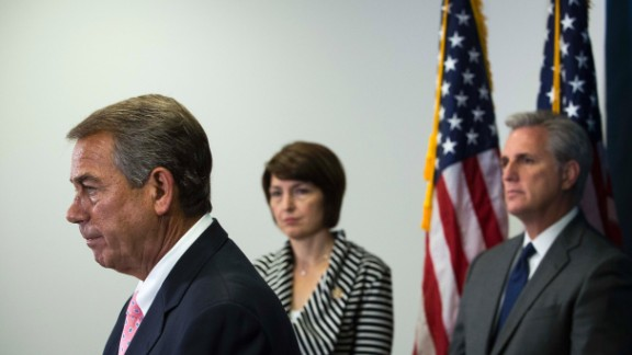 Speaker of the House John Boehner (R-OH) (L), Rep. Cathy McMorris Rodgers (R-WA) (C), and House Majority Leader Kevin McCarthy (R-CA) (R) take questions from the media during a press conference after a closed meeting with fellow Republicans, on Capitol Hill, July 28, 2015 in Washington, DC.