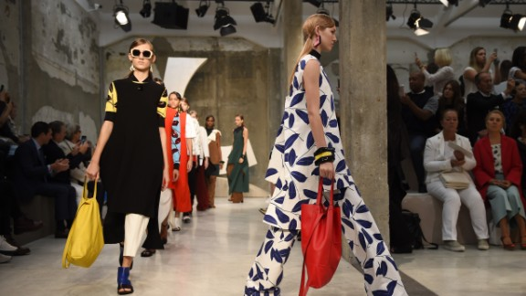 Marni was heavy on paillettes, geometric shapes and over-sized prints.