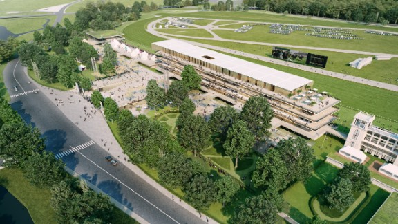 """Perrault's new design includes just one grandstand but will be """"transparent,"""" he says, affording views both east and west. """"The building has two faces -- one in front of the race and one behind,"""" he says."""