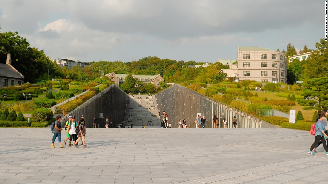Completed in 2008, the university campus attempts to fuse the urban and natural space together.