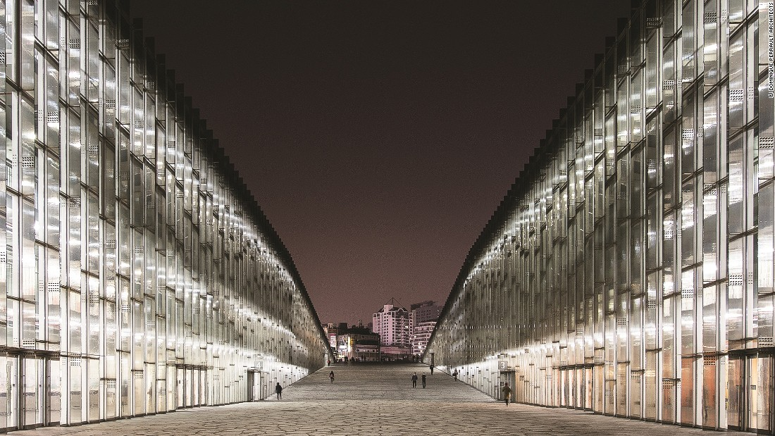 The EWHA Womens University in Seoul, South Korea. One of Dominique Perrault's key aims as an architect is to bring harmony to the relationship between buildings and their surroundings.
