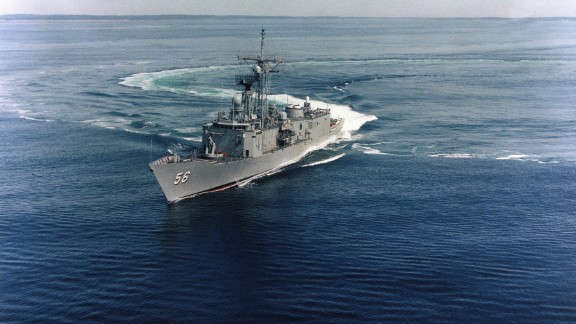 An undated file photo of a port bow view of the guided-missile frigate USS Simpson (FFG 56) underway off the coast of New England prior to its commissioning. Simpson was one of several ships that participated in Operation Praying Mantis, which was launched after the guided-missile frigate USS Samuel B. Roberts (FFG-58) struck an Iranian mine on April 14, 1988. (U.S. Navy photo courtesy of Bath Iron Works/Released)