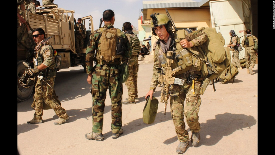 Afghan special forces prepare to launch an operation to retake the city of Kunduz, Afghanistan, from Taliban insurgents on Tuesday, September 29. The Taliban took control of most of the city the day before in its biggest victory since 2001.