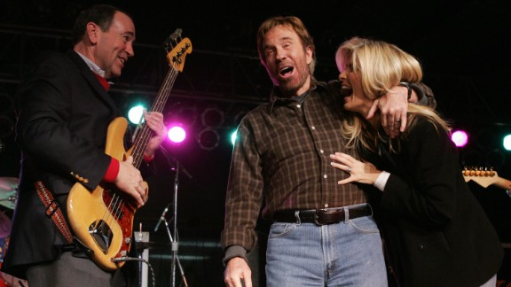 """Actor Chuck Norris has a very public bromance with former GOP candidate Mike Huckabee. When Huckabee announced his candidacy, Norris told The New York Times in a statement, """"I still believe Mike Huckabee is the most qualified.""""  Norris also endorsed Huckabee when he ran for President in 2008."""