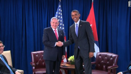 U.S. President Barack Obama meets with Cuban leader Raul Castro at the United Nations. September 29, 2015.