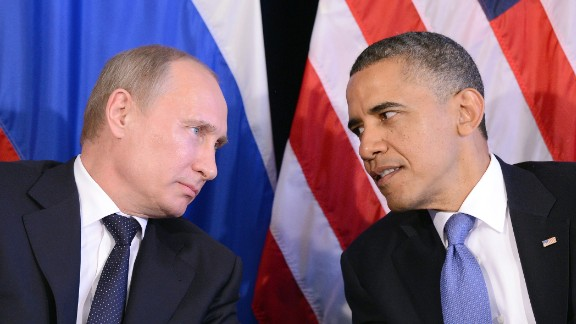 "Obama listens to Putin after their bilateral meeting in Los Cabos, Mexico on June 18, 2012 on the sidelines of the G-20 summit. The meeting was the first time Obama and Putin held face-to-face talks since Putin returned to the president's office earlier that year.  Obama said he and Putin discussed the conflict in Syria and ""agreed that we need to see a cessation of the violence, that a political process has to be created to prevent civil war."""