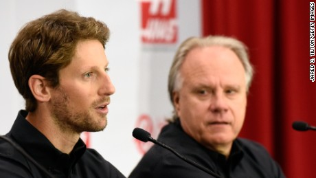 Romain Grosjean alongside his new Formula One boss Gene Haas in North Carolina