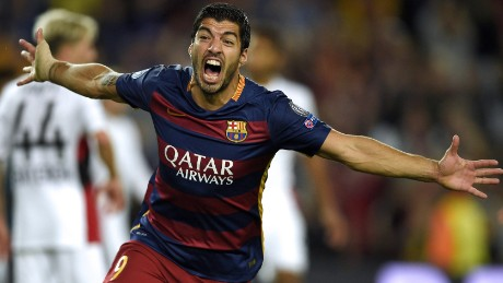 Barcelona's Uruguayan forward Luis Suarez celebrates after scoring a goal during the UEFA Champions League football match FC Barcelona vs Bayer Leverkusen at the Camp Nou stadium in Barcelona on September 29, 2015. AFP PHOTO / LLUIS GENE        (Photo credit should read LLUIS GENE/AFP/Getty Images)