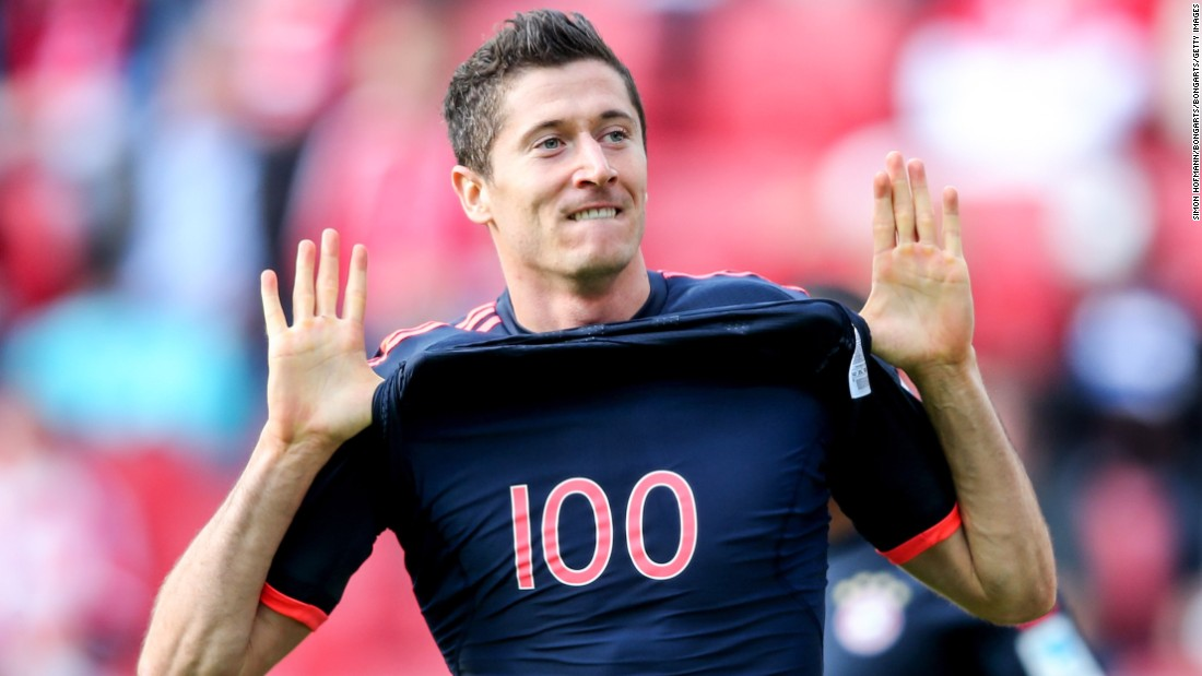 Lewandowski's brace in Bayern's 3-0 win at Mainz means he has  scored 100 goals in the German top flight in just 168 appearances. The 27-year-old reached the landmark quicker than any other foreign player in Bundesliga history.