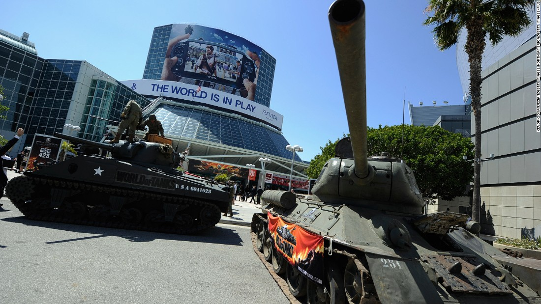 "Usually the convention space is used for business and consumer events. Here, a World War II-era military tank is seen on display promoting the ""World of Tanks"" from developer Wargaming.net at the Electronics Entertainment Expo in 2011."
