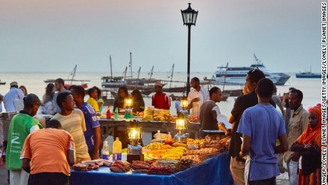 Evening food markets at Stone Town, Zanzibar.