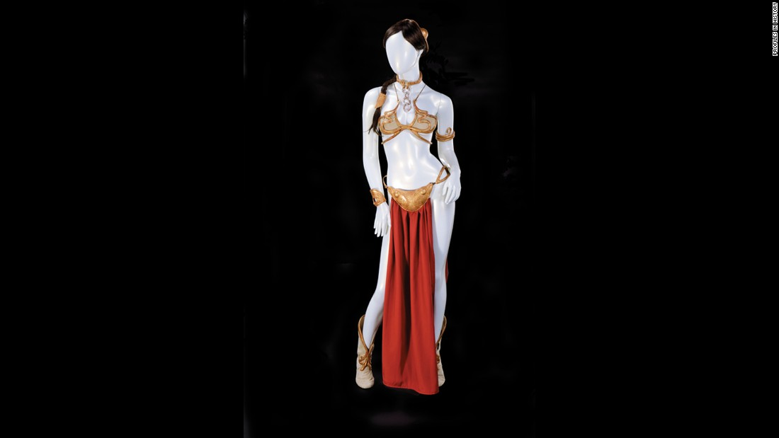 "The famous ""slave Leia"" costume from ""Return of the Jedi"" is also up for auction (Jabba not included)."