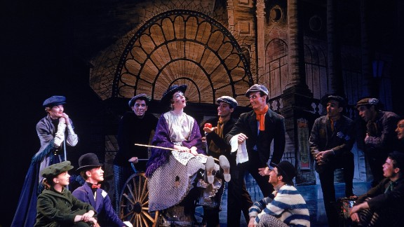 "Actress Julie Andrews and others appear in the play ""My Fair Lady"" in 1956."