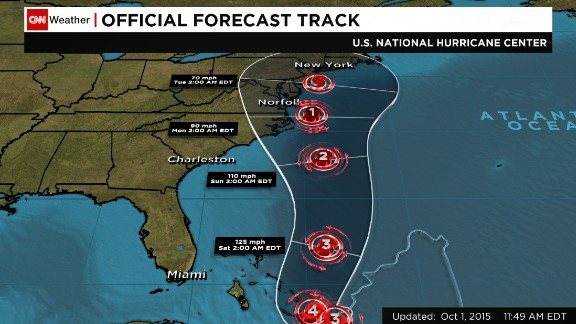 This image shows a National Hurricane Center forecast track for Hurricane Joaquin, with the storm