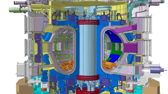 The ITER Tokamak will be nearly 30 metres tall, and weigh 23,000 tons. (Click to enlarge)