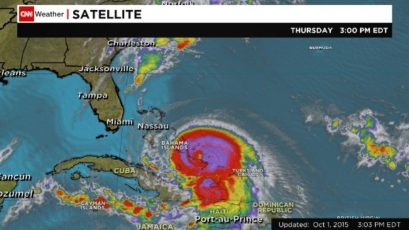 A satellite image shows Hurricane Joaquin on Thursday afternoon.
