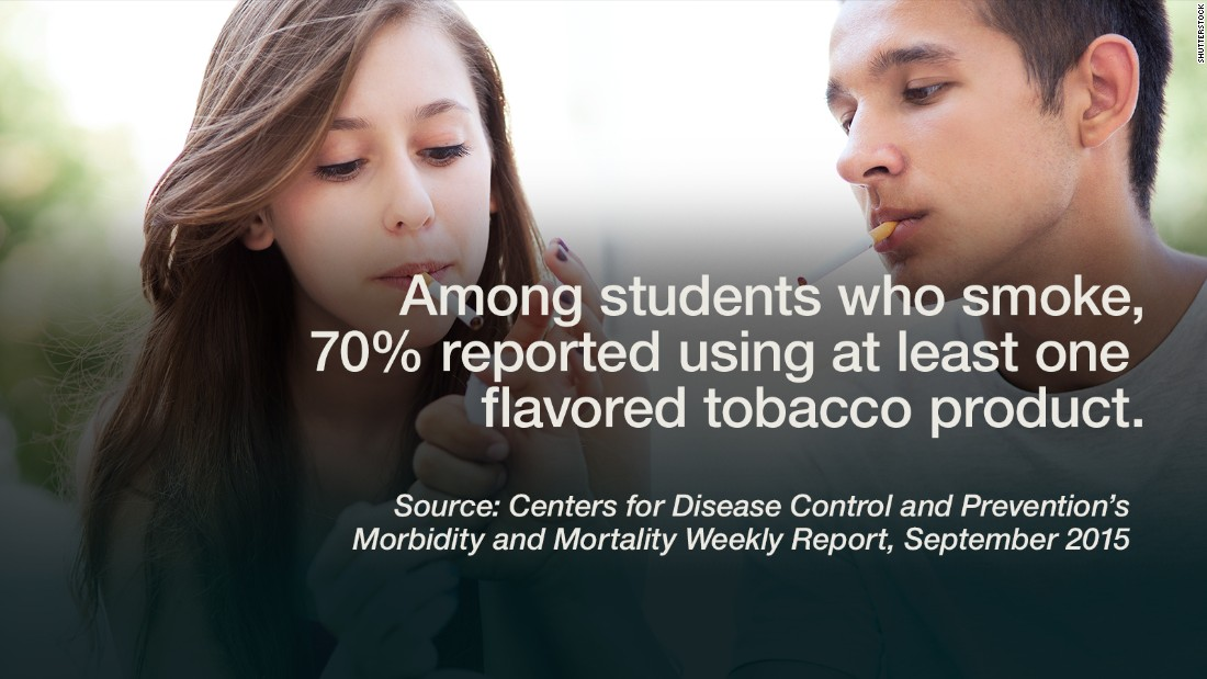 "An estimated 4.6 million American middle and high school students are current users of tobacco products, according to the <a href=""http://www.cdc.gov/mmwr/preview/mmwrhtml/mm6438a1.htm"" target=""_blank"">2014 National Youth Tobacco Survey</a>, and of those young smokers, 70% reported using at least one flavored tobacco product in the past 30 days. ""Flavored tobacco products are enticing a new generation of America's youth into nicotine addiction,"" Dr. Tom Frieden, director of the Centers for Disease Control and Prevention, said in a news release. For the 18% of all high school students who have used at least one flavored tobacco product in the past month, e-cigarettes were most common, followed by hookah, cigars, menthol cigarettes, smokeless tobacco, and finally, pipes. <a href=""http://www.ncbi.nlm.nih.gov/pmc/articles/PMC3615117/pdf/nihms440149.pdf"" target=""_blank"">Some studies</a> have shown that early, regular cigarette smoking means higher risk for heavier use, long-term use and greater difficulty quitting. There is major concern about harmful effects that tobacco use has on the <a href=""http://www.cnn.com/2011/10/19/health/mental-health/teen-brain-impulses/index.html"">developing teen brain</a>, which is hardwired for risky business. -- Viola Lanier <br />"