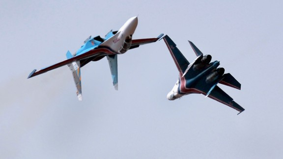 The Russian Knights aerobatic demonstration team fly in their Sukhoi SU-27s on February 9, 2013.