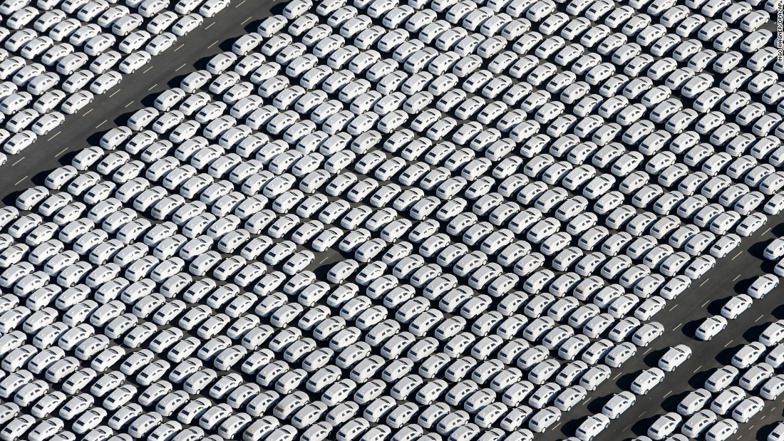 New Volkswagen cars are ready to be shipped from a factory in Emden, Germany, on Wednesday, September 30.