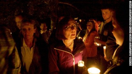 ROSEBURG, OREGON - OCTOBER 1: Governor Kate Brown of Oregon attends at a candlelight vigil for the victims of a shooting at Umpqua Community College October 1, 2015 in Roseburg, Oregon. According to reports, 10 were killed and 20 injured when a gunman opened fire at Umpqua Community College in Roseburg, Oregon. (Photo by Michael Lloyd/Getty Images)