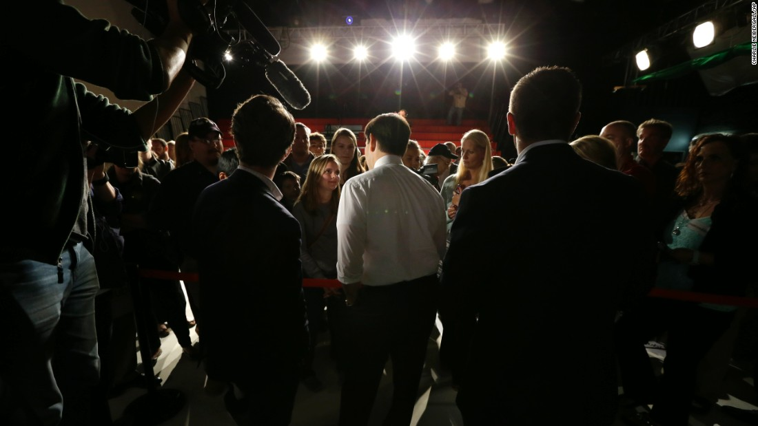 U.S. Sen. Marco Rubio, a Republican presidential candidate, speaks to audience members after a town hall meeting in Cedar Falls, Iowa, on Thursday, October 1.