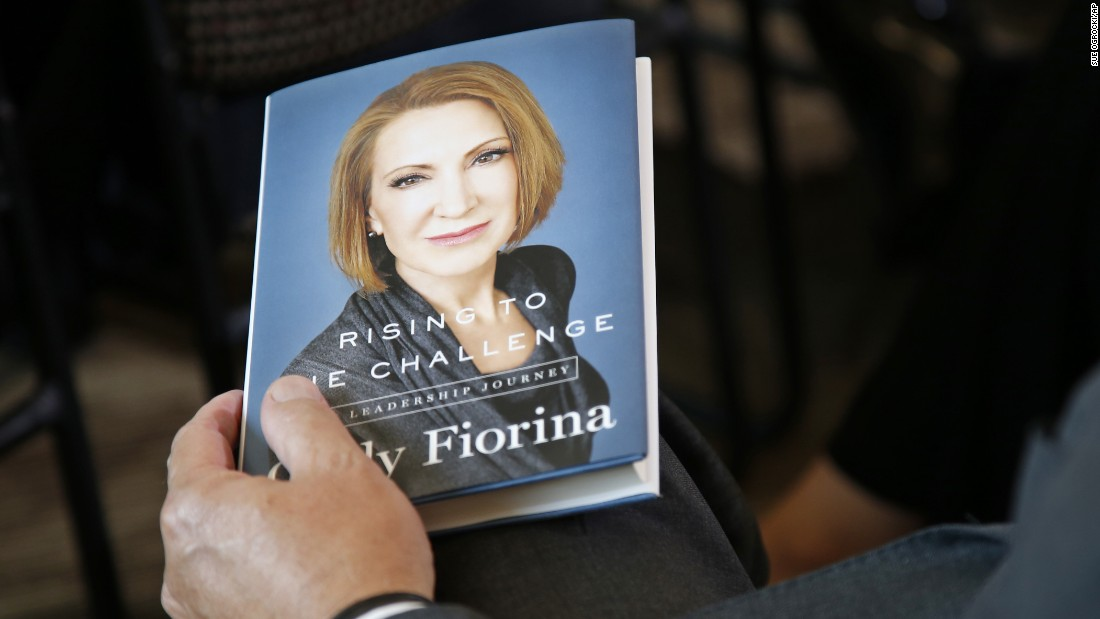 An audience member holds one of Carly Fiorina's books as the Republican presidential candidate speaks in Oklahoma City on Tuesday, September 29.