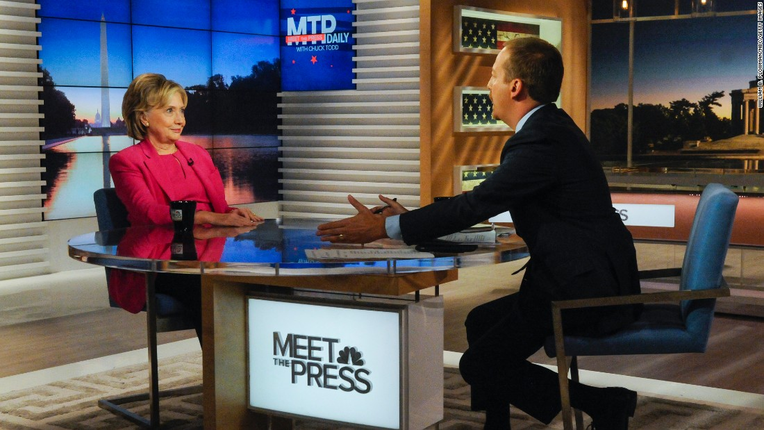 "Democratic presidential candidate Hillary Clinton <a href=""http://www.cnn.com/2015/09/27/politics/hillary-clinton-emails-meet-the-press/"" target=""_blank"">appears on the talk show ""Meet the Press""</a> with moderator Chuck Todd on Sunday, September 27."
