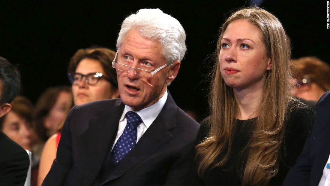 Former President Bill Clinton, left, and his daughter, Chelsea, attend a session at the annual Clinton Global Initiative on Tuesday, September 29.
